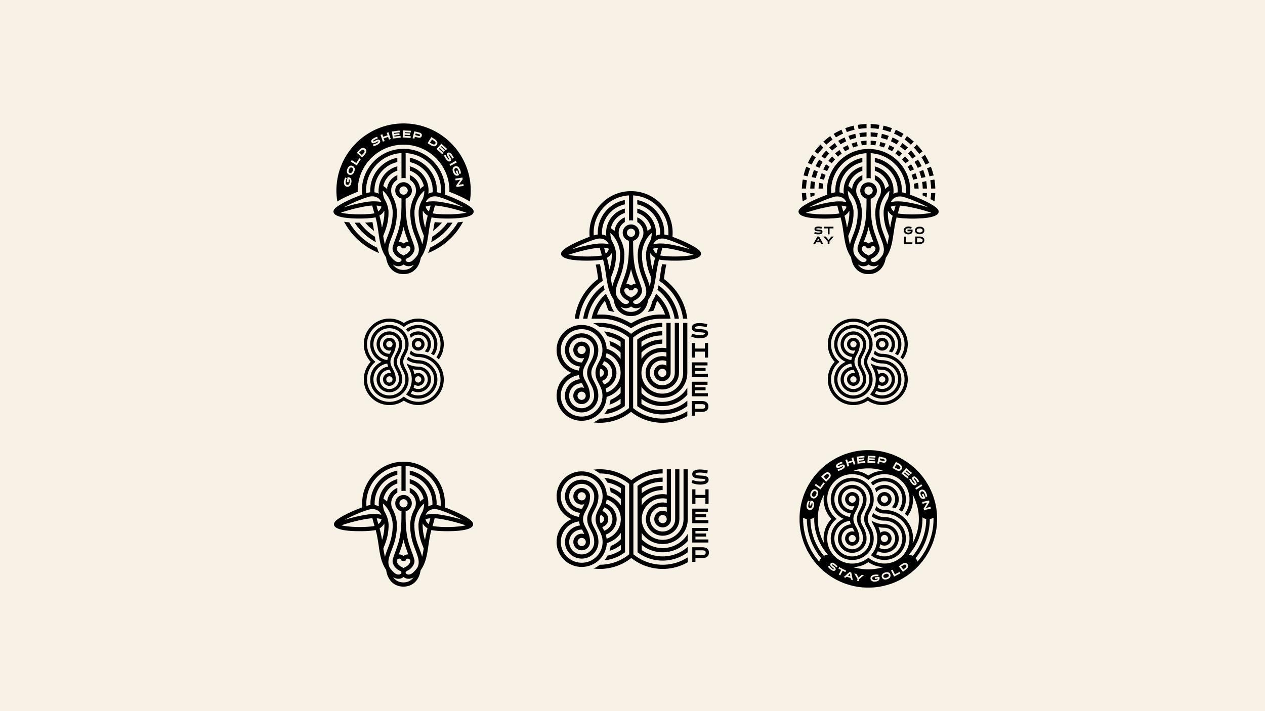 Gold Sheep Design Brand Logo System