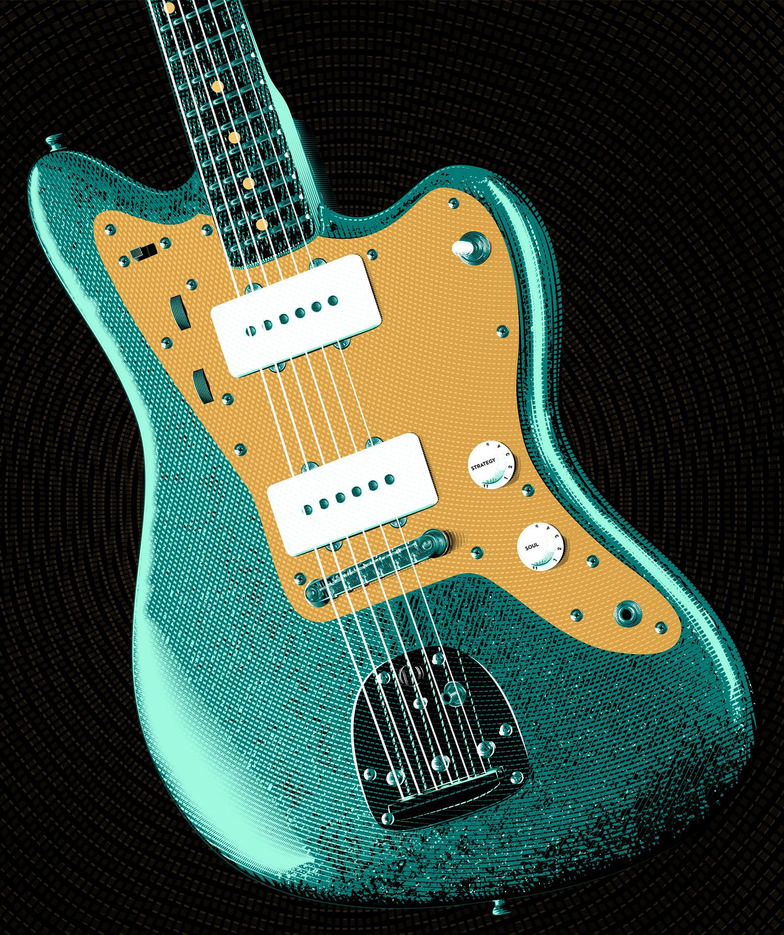 Gold Sheep Design Jazzmaster Guitar IIllustration Full