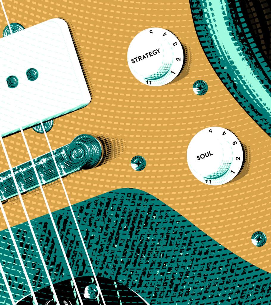 Gold Sheep Design Jazzmaster Guitar IIllustration - Zoom 2