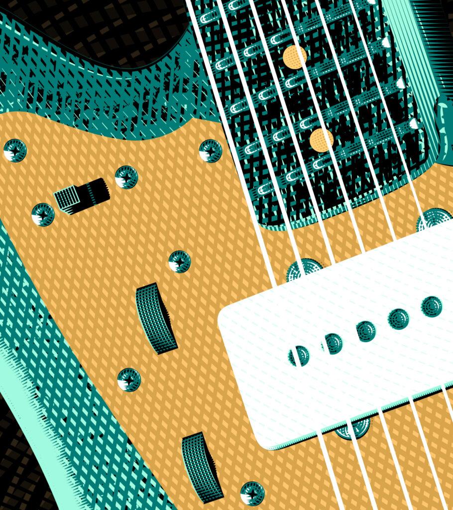 Gold Sheep Design Jazzmaster Guitar IIllustration - Zoom 1