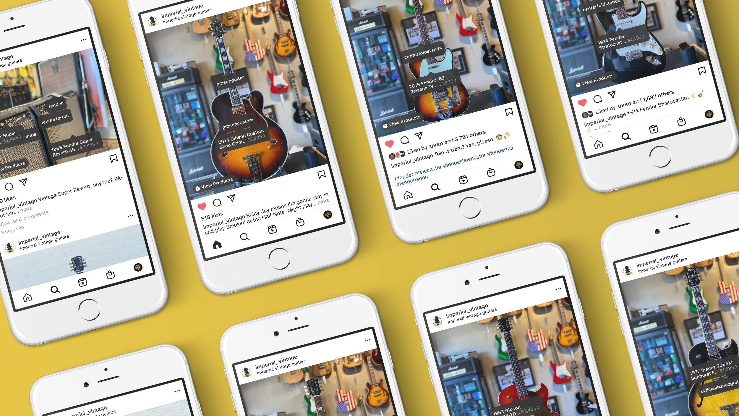 Imperial Vintage Guitars Shopify Website Instagram Product Integration