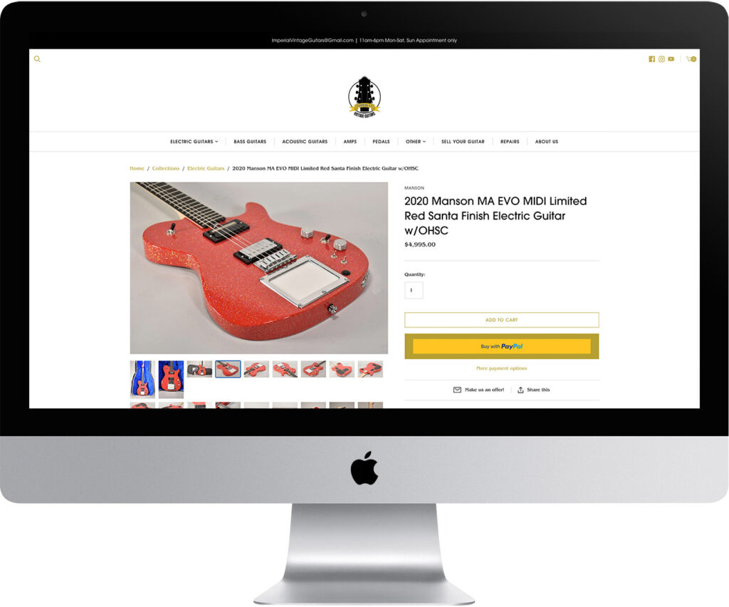 Imperial Vintage Guitars Website Design Product Detail Page