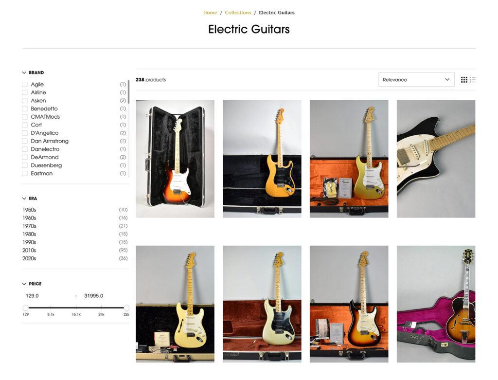 Imperial Vintage Guitars Website Design Product Filters