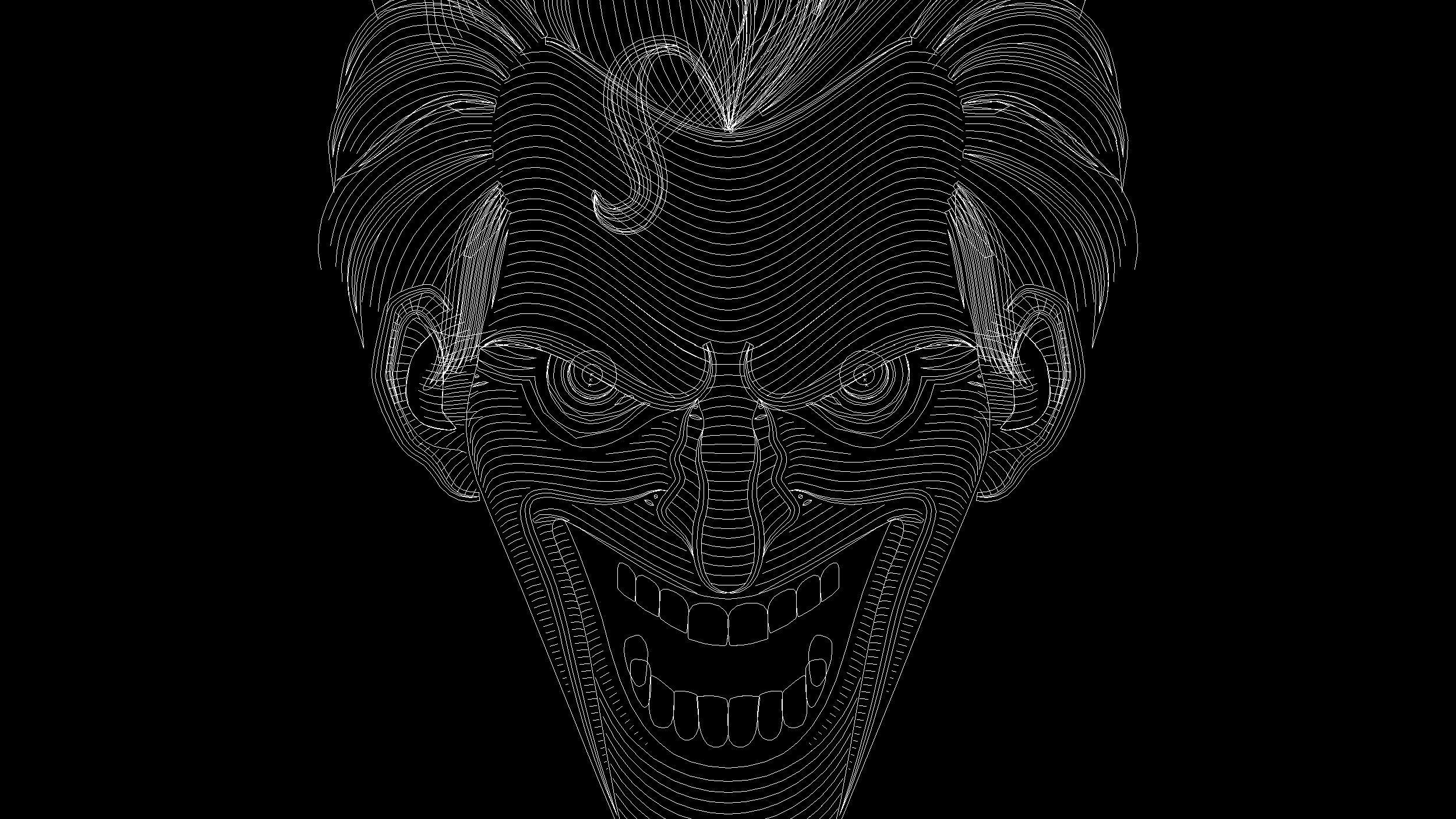 Six Flags Joker Illustration Outline View