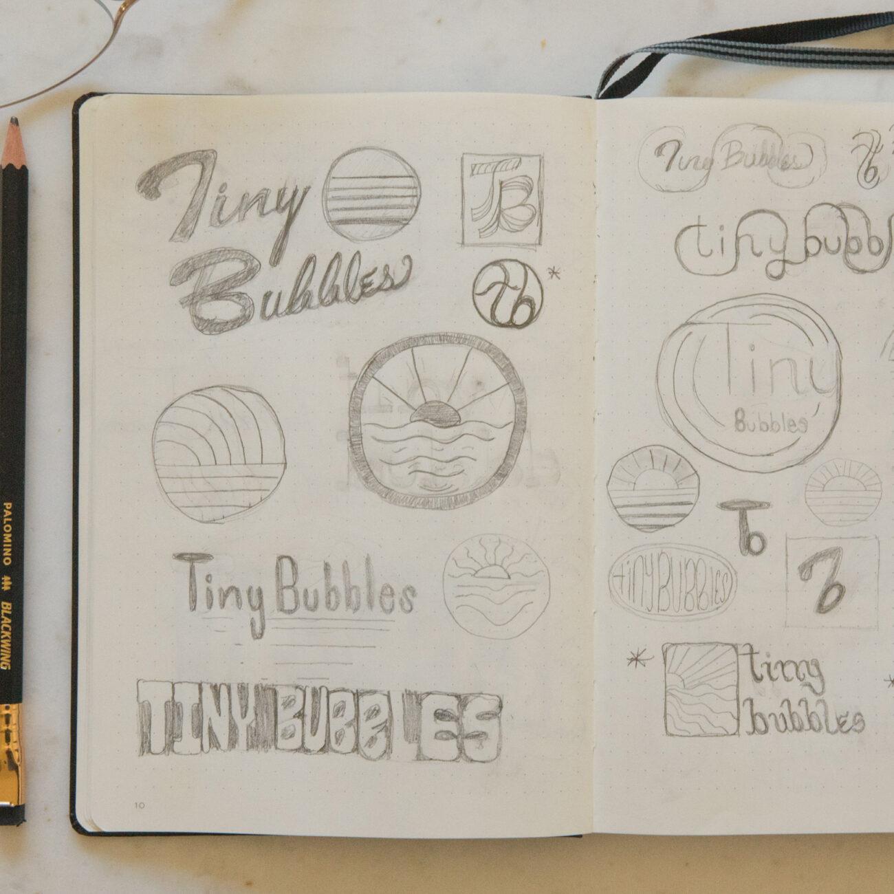 Tiny Bubbles Brand Identity Design Sketches