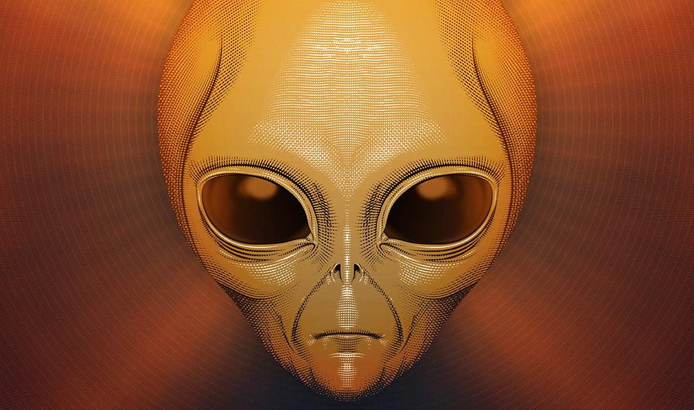 Featured Contact Alien Art Illustration Crosshatch