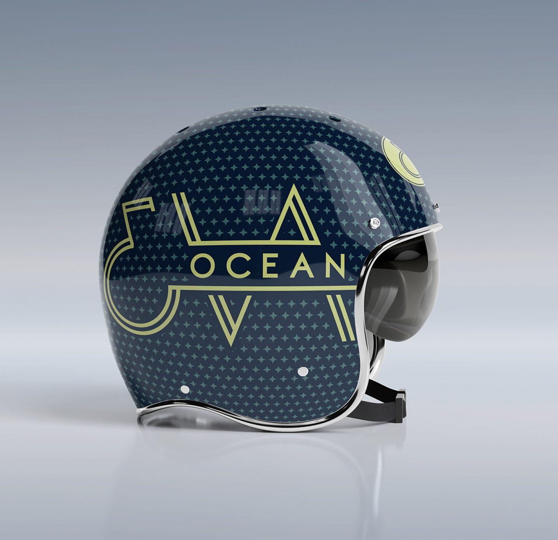 Eva Ocean Musician Branding Logo Motorcycle Helmet